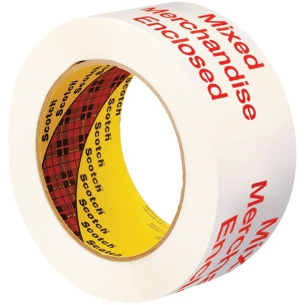"White Mixed Merchancise Enclosed Tape, 2"" x 110 yds., 1.9 Mil Thick"