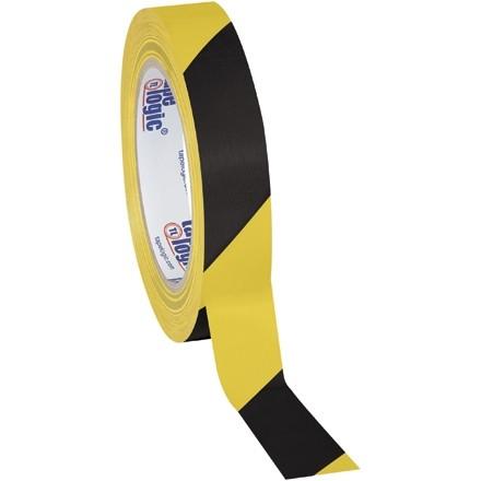 "Black/Yellow Striped Vinyl Tape, 1"" x 36 yds., 7 Mil Thick"