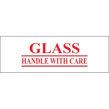 """Glass - Handle With Care Tape, 2"""" x 55 yds., 2.2 Mil Thick"""