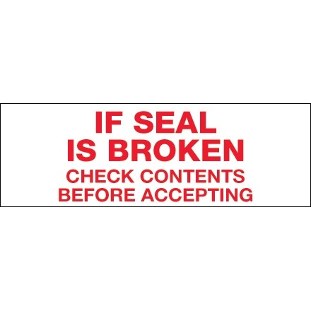 """If Seal Is Broken... Tape, 3"""" x 110 yds., 2.2 Mil Thick"""