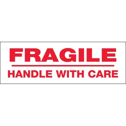 """Fragile Handle With Care Tape, 2"""" x 55 yds., 2.2 Mil Thick"""