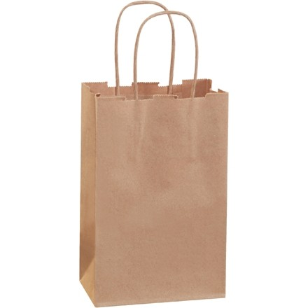 Kraft Paper Shopping Bags, Rose - 5 1/2 x 3 1/4 x 8 3/8""