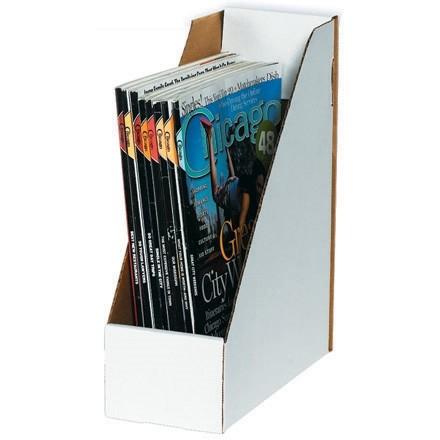 """White Magazine File Boxes, 9 1/4 x 4 x 12"""""""
