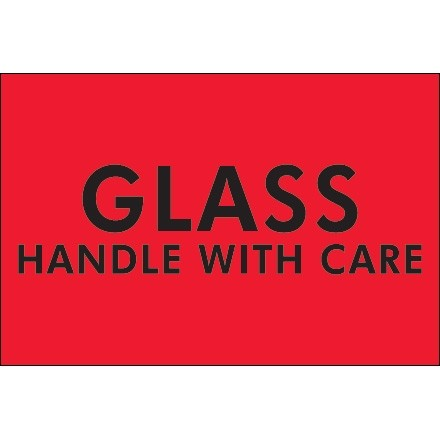 """"""" Glass - Handle With Care"""" Fluorescent Red Labels, 2 x 3"""""""