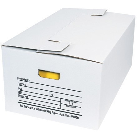 "Interlocking Flap File Storage Boxes, 24 x 15 x 10"""