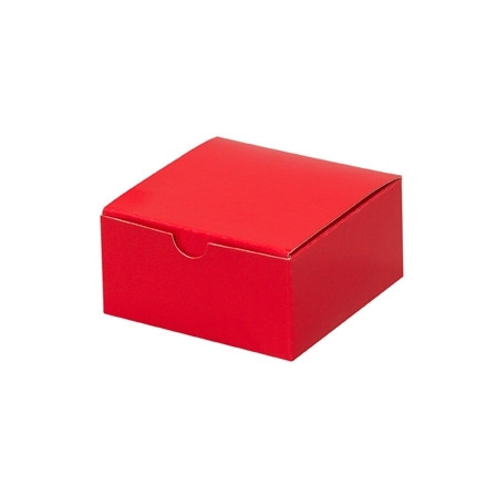 """Chipboard Boxes, Gift, Holiday Red, 4 x 4 x 2"""""""
