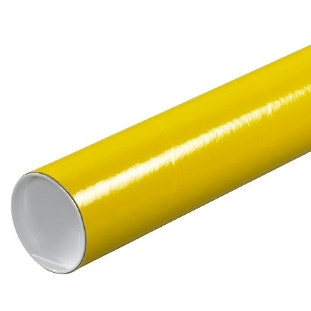 """Mailing Tubes with Caps, Round, Yellow, 3 x 12"""", .070"""" thick"""