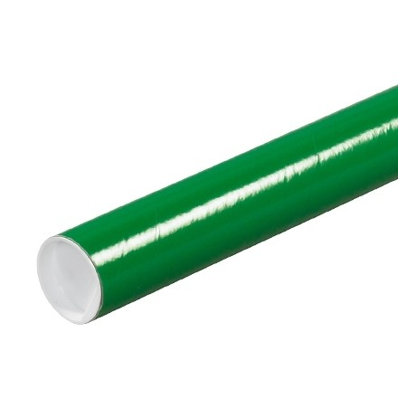 """Mailing Tubes with Caps, Round, Green, 2 x 9"""""""