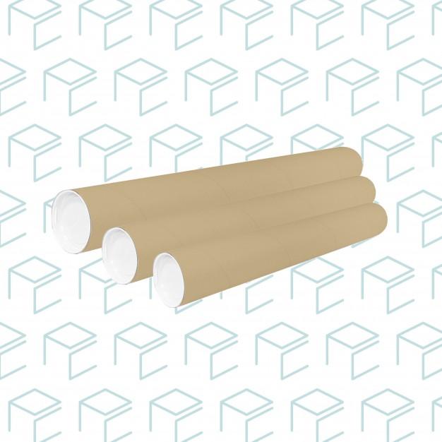 "Kraft Round Mailing Tubes W/ Plastic Caps 3"" X 48"" - 30 Pack"