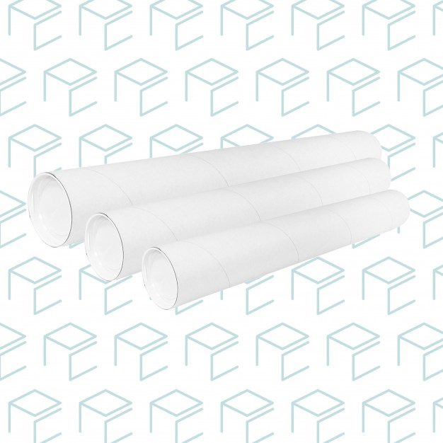 "White Round Mailing Tubes W/ Plastic Caps - 3"""