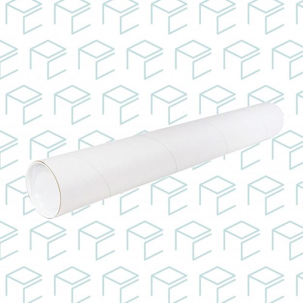 "White Round Mailing Tubes W/ Plastic Caps 3"" X 24"""
