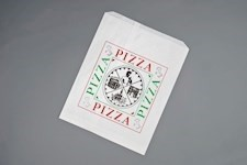 White Printed Paper Pizza Bags, Quattro Design, 12 x 15""