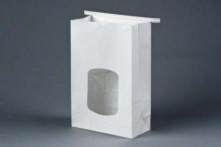 Bakery Bags, White, Tin Tie, Window, 4 3/4 x 2 1/2 x 9 1/2""