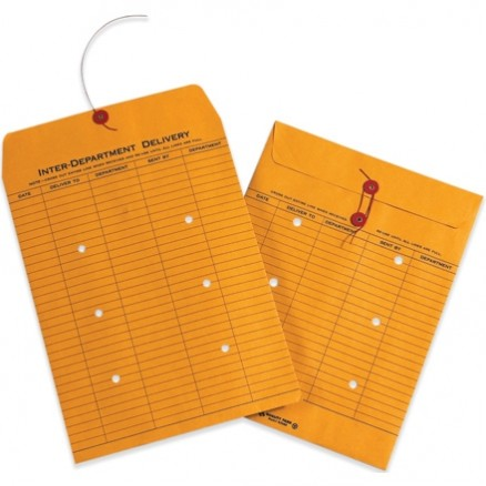 """String and Button Inter-Department Envelopes, Kraft, 10 x 13"""""""