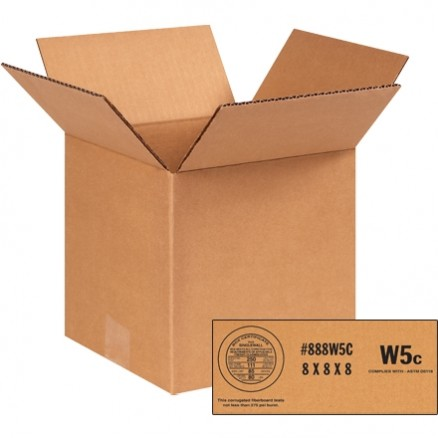 "Weather Resistant Corrugated Boxes, 8 x 8 x 8"", W5c - 250 #"