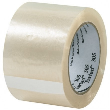 "3M 305 Tape, Clear, 3"" x 110 yds., 1.8 Mil Thick"
