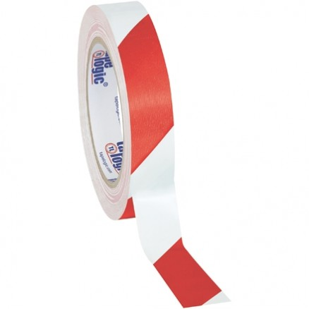 "Red/White Striped Vinyl Tape, 1"" x 36 yds., 7 Mil Thick"