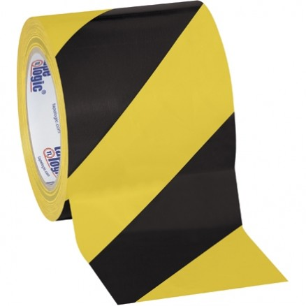 "Black/Yellow Striped Vinyl Tape, 4"" x 36 yds., 7 Mil Thick"