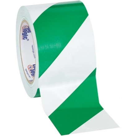 "Green/White Striped Vinyl Tape, 3"" x 36 yds., 7 Mil Thick"