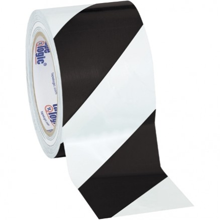 "Black/White Striped Vinyl Tape, 3"" x 36 yds., 7 Mil Thick"