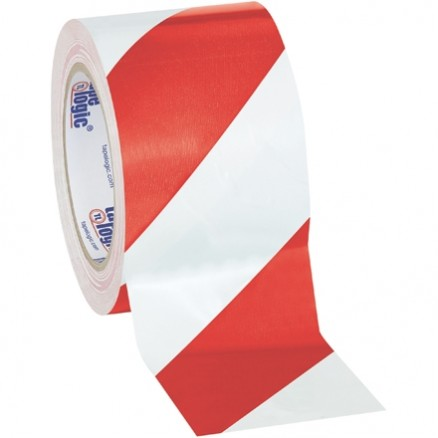 "Red/White Striped Vinyl Tape, 3"" x 36 yds., 7 Mil Thick"