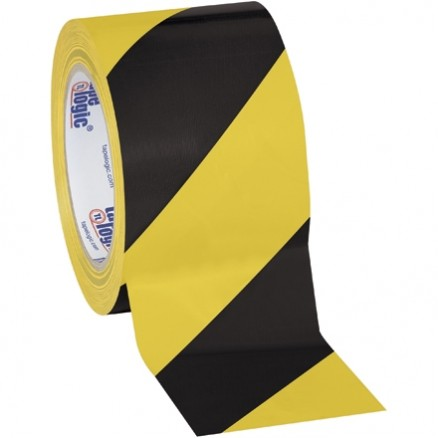 "Black/Yellow Striped Vinyl Tape, 3"" x 36 yds., 7 Mil Thick"