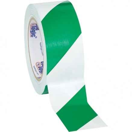 "Green/White Striped Vinyl Tape, 2"" x 36 yds., 7 Mil Thick"