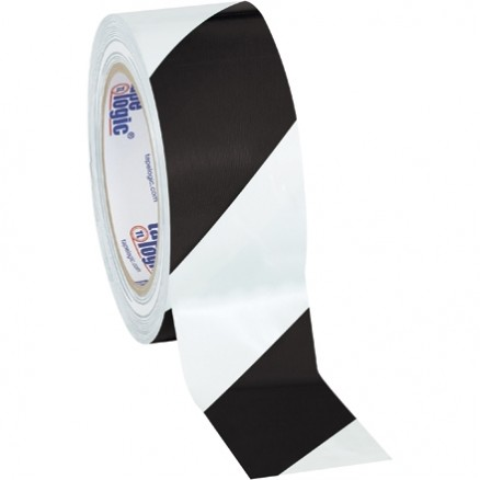 "Black/White Striped Vinyl Tape, 2"" x 36 yds., 7 Mil Thick"