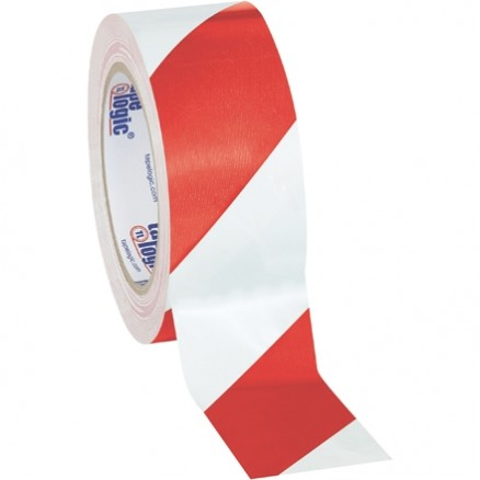 "Red/White Striped Vinyl Tape, 2"" x 36 yds., 7 Mil Thick"