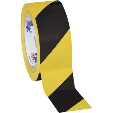 "Black/Yellow Striped Vinyl Tape, 2"" x 36 yds., 7 Mil Thick"