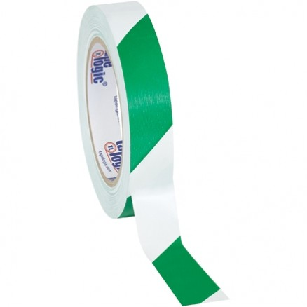 "Green/White Striped Vinyl Tape, 1"" x 36 yds., 7 Mil Thick"