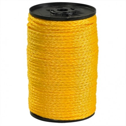 "Hollow Braided Polypropylene Rope - 1/4"", Yellow"