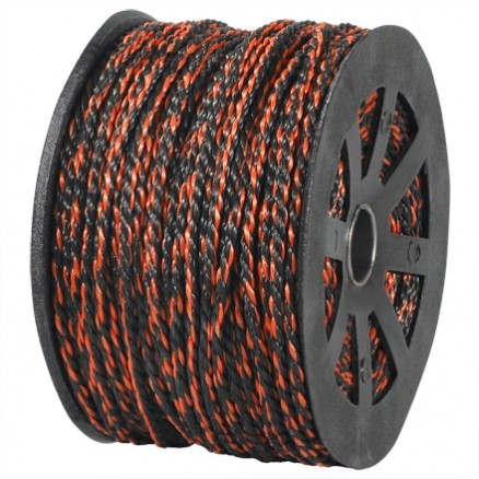 "Twisted Polypropylene Rope - 3/8"", Black/Orange"
