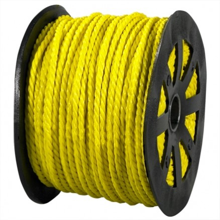 "Twisted Polypropylene Rope - 3/16"", Yellow"