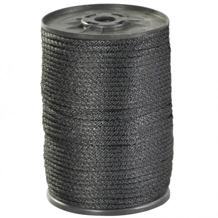 "Solid Braided Nylon Rope - 1/4"", Black"