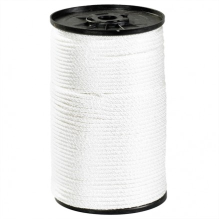 "Solid Braided Nylon Rope - 1/8"", White"