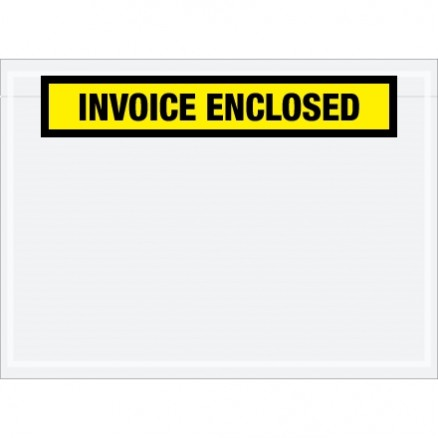 """Invoice Enclosed"" Envelopes, Yellow, 7 1/2 x 5 1/2"""