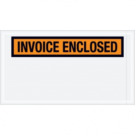 """Invoice Enclosed"" Envelopes, Orange, 5 1/2 x 10"""