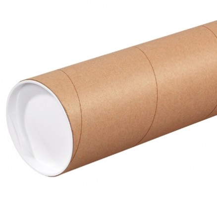 Mailing Tubes with Caps, Heavy Duty, Round, Kraft, 4 x 72""