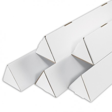 Mailing Tubes, Triangle, White, 3 x 18 1/4""