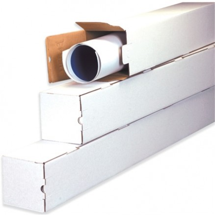 Mailing Tubes, Square, White, 4 x 4 x 25""