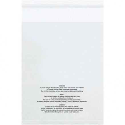 """Resealable Suffocation Warning Bags, 12 x 18"""", 1.5 Mil, Vented"""