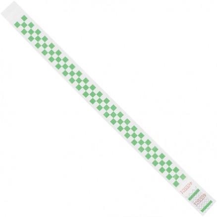 "Green Checkerboard Tyvek® Wristbands, 3/4 x 10"""