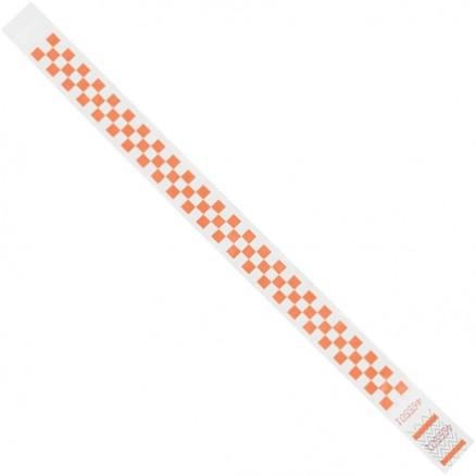 "Orange Checkerboard Tyvek® Wristbands, 3/4 x 10"""