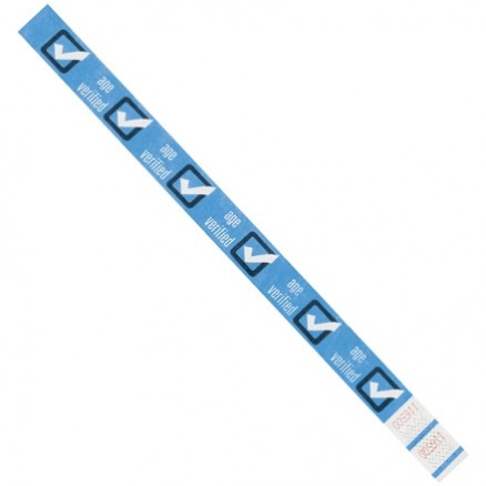 "Blue ""Age Verified"" Tyvek® Wristbands, 3/4 x 10"""