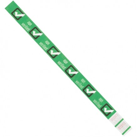 "Green ""Age Verified"" Tyvek® Wristbands, 3/4 x 10"""
