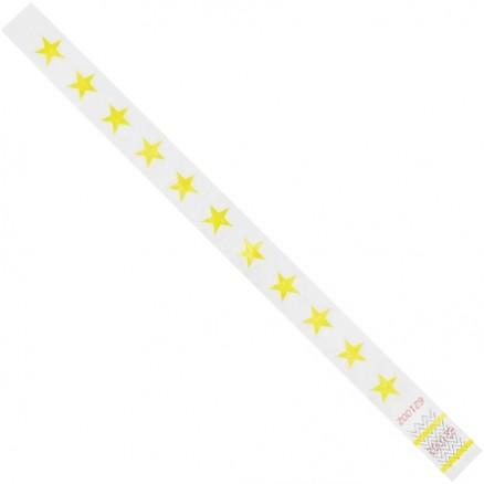 """Yellow Stars Tyvek® Wristbands, 3/4 x 10"""""""