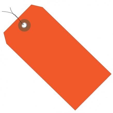 "Pre-Wired Orange Plastic Tags #5 - 4 3/4 x 2 3/8"""
