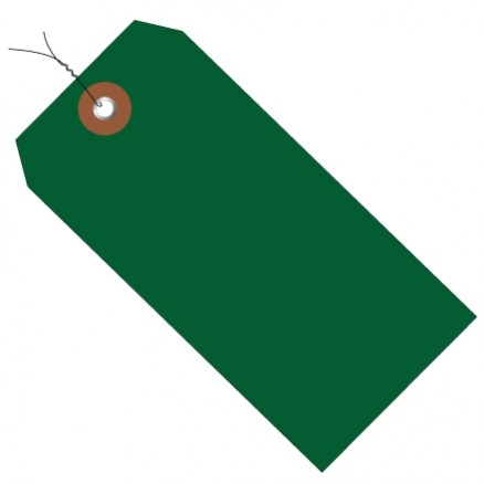 """Pre-Wired Green Plastic Tags #5 - 4 3/4 x 2 3/8"""""""