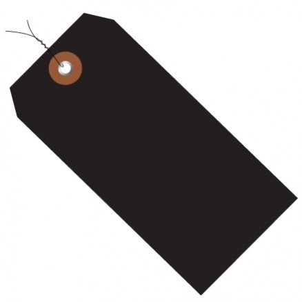 """Pre-Wired Black Plastic Tags #5 - 4 3/4 x 2 3/8"""""""